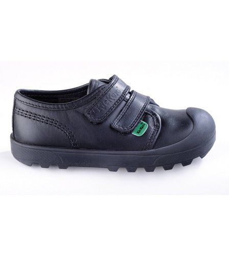 Kickers Infants Plunk Shoes Kickers Leather School Shoes Double Strap Black Size